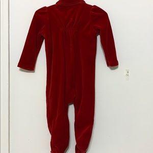 Ralph Lauren One Pieces - Red Ralph Lauren Velour Footsie